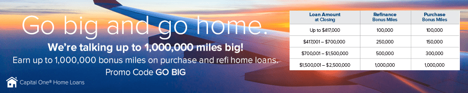 capital one home loans 1 000 000 bonus miles promotion