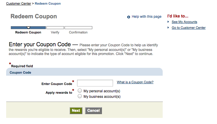 Redeem coupon codes retroactively in chase online banking Hause on line
