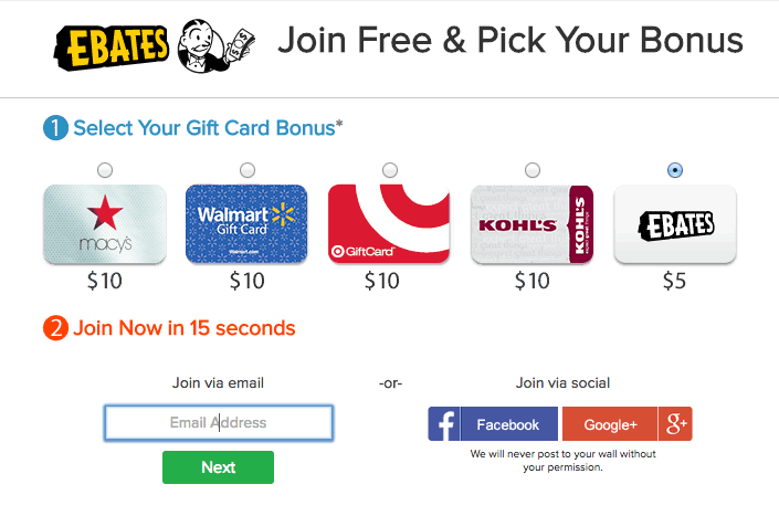 Ebates Gift Card Sign Up Bonus