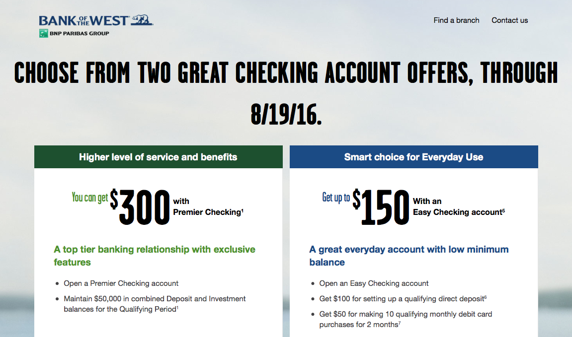 Bank of the West Checking Bonus
