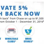 Chase Freedom 2016 5% Cash Back Rebate Categories – 4th Quarter Activation