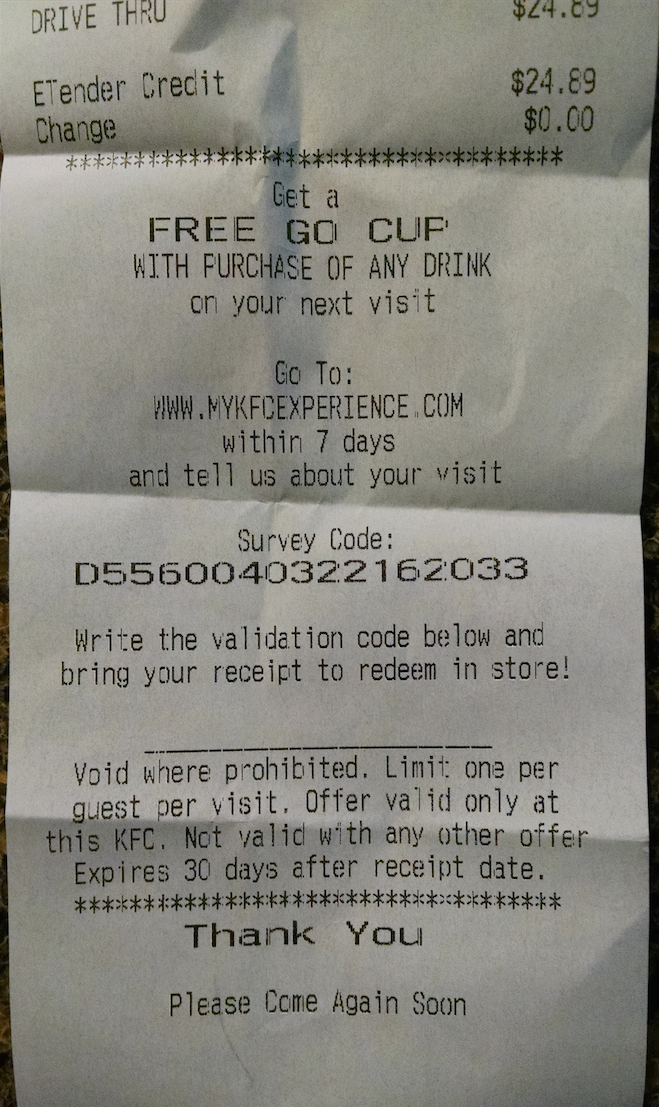 surveys on the go code kentucky fried chicken receipt survey for free go cup 1898