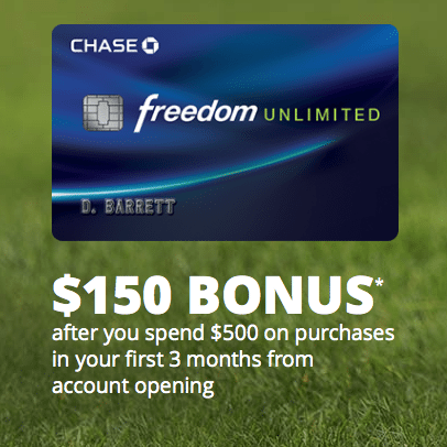 New Chase Freedom Unlimited Card $175 Bonus and 1.5% Cash Back ($325 Targeted Email Offer)