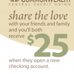 CommonWealth Central Credit Union $25 Referral Bonuses in California