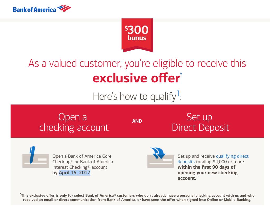 Bank of America Checking Account 300 Bonus