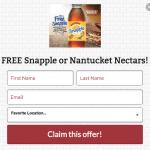 Bruegger's Bagels Free Snapple or Nantucket Nectars