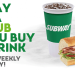 SUBWAY Free 6″ Sub with 30 oz. Drink Purchase