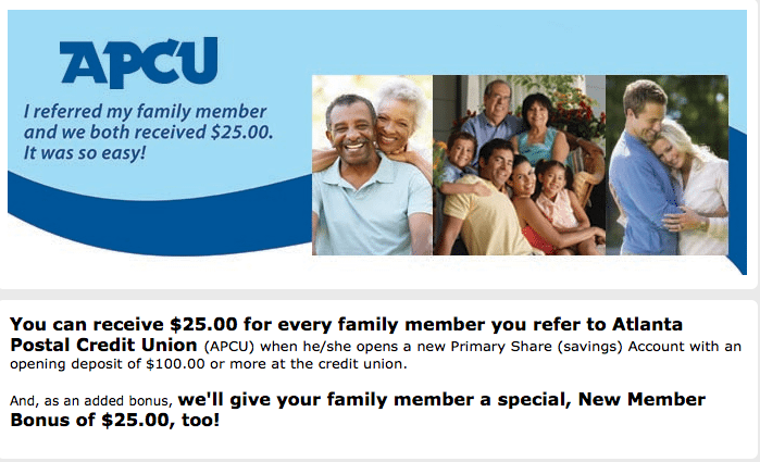 Atlanta Postal Credit Union 25 Referral Bonuses For Both Parties