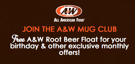 A&W Restaurants Mug Club Free Root Beer Float