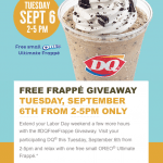 Dairy Queen Free OREO Frappé Giveaway – Tuesday, September 6, 2016
