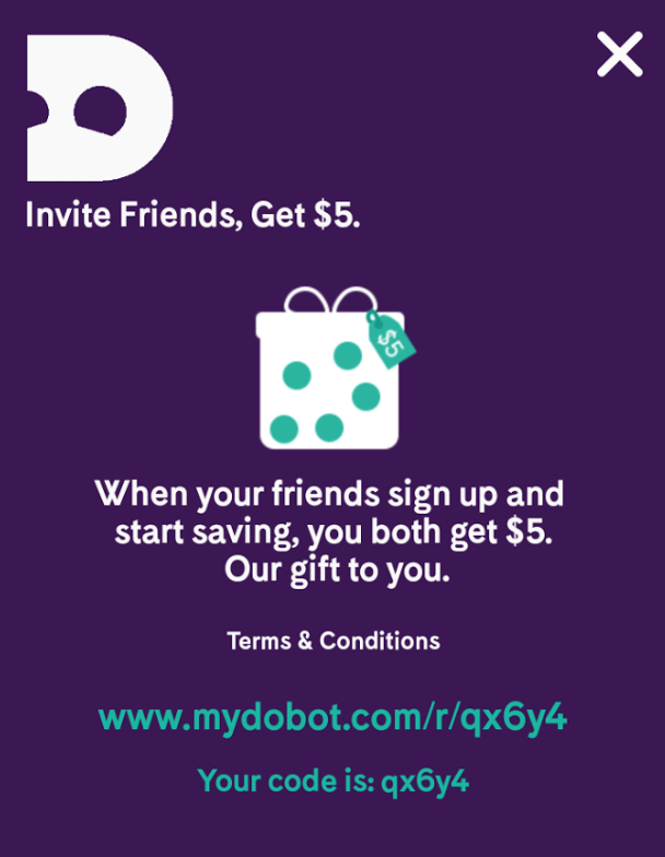 Dobot Automatic Money Saving App $5 Instant Bonus and $5 Referrals