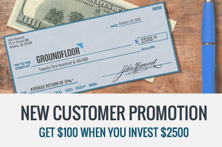 Groundfloor Real Estate Lending Marketplace $100 Investor Account Bonus