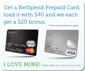 NetSpend Prepaid Card $20 Referral Bonus Program