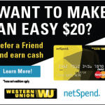 Western Union Prepaid Card $20 Bonus Credit and $20 Referrals