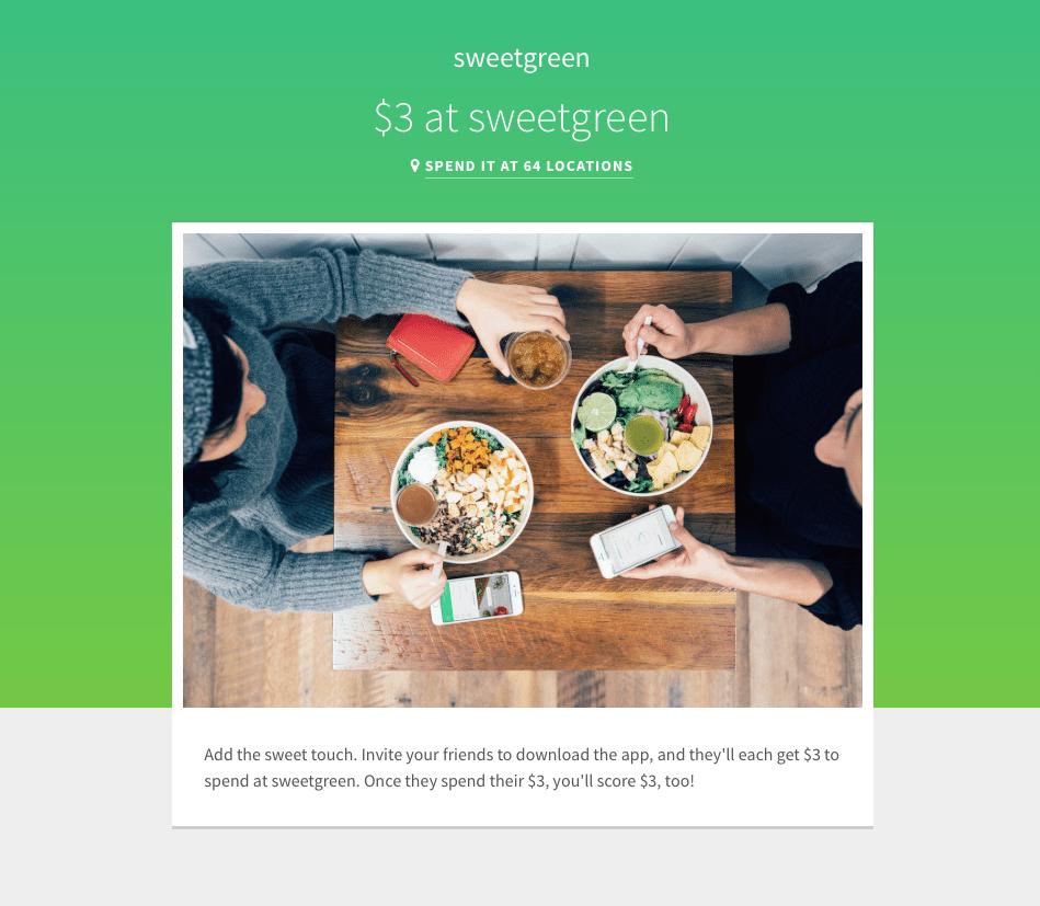 sweetgreen Restaurant Rewards $3 Free Credit and $3 Referrals