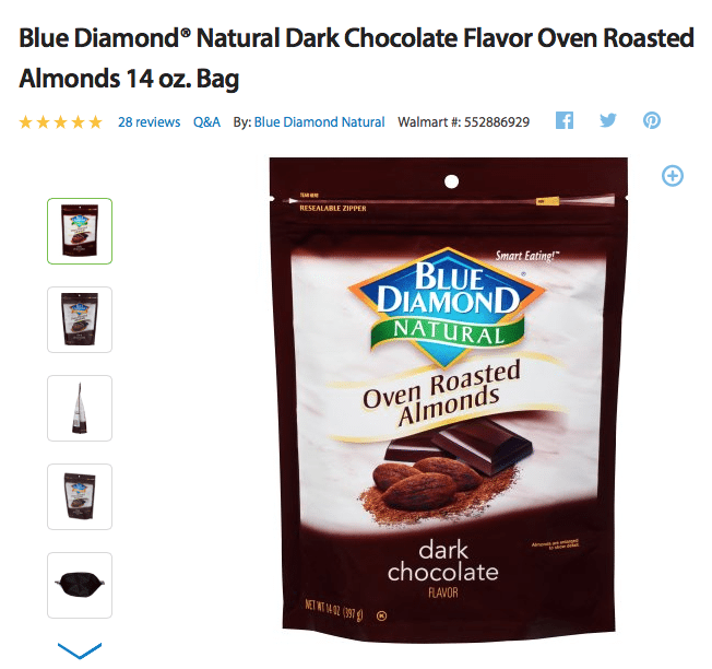 Blue Diamond Dark Chocolate Almonds from Walmart