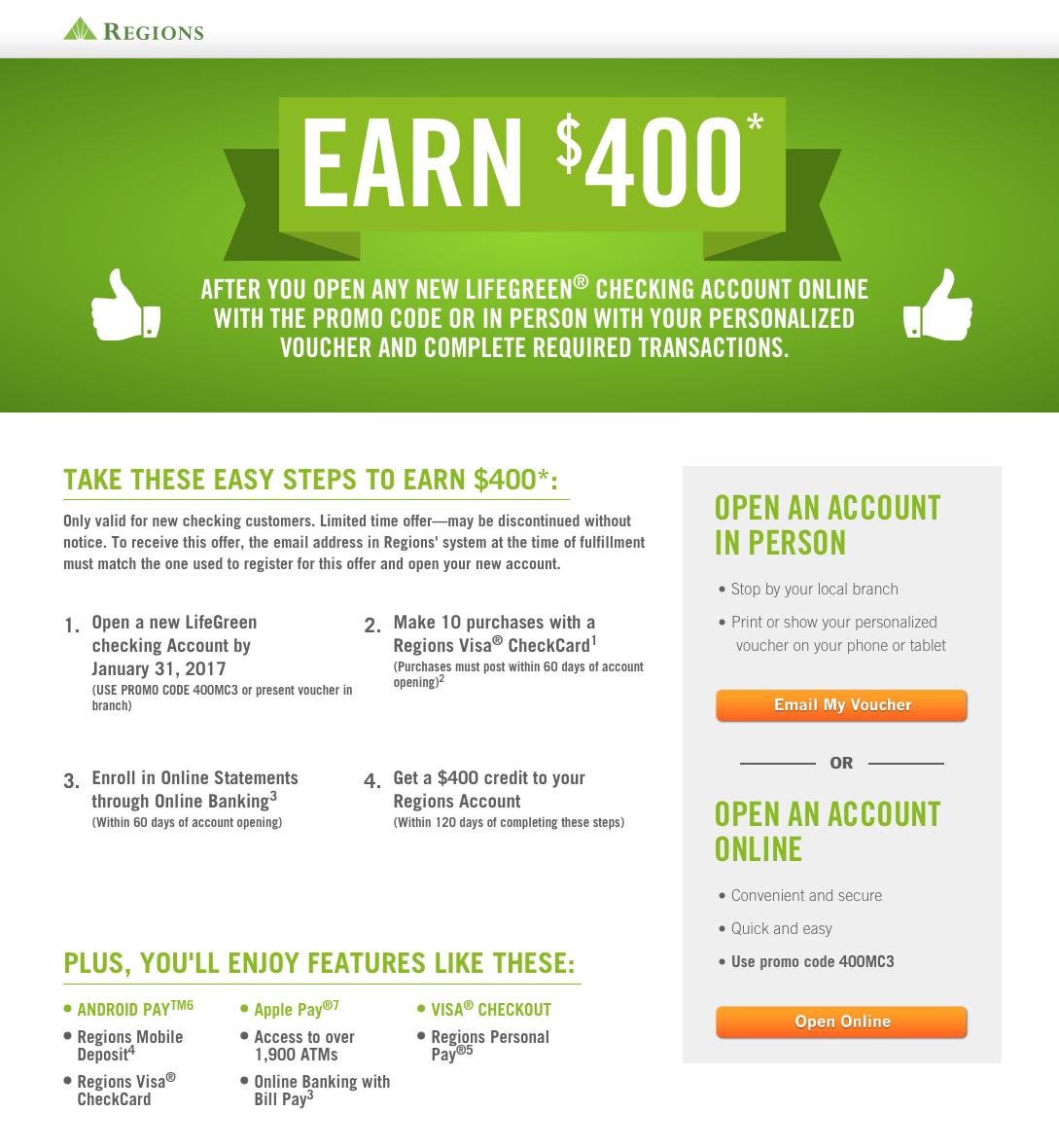 Regions Bank 400 LifeGreen Checking Account Bonus