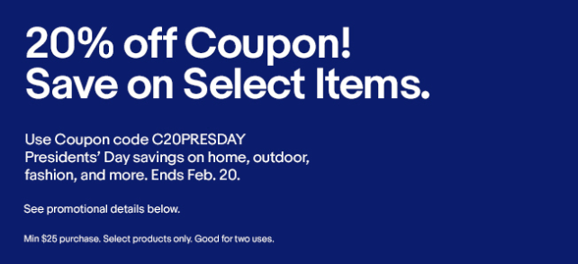 eBay Coupon Code C20PRESDAY