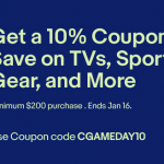 eBay Coupon Code Discount: 10% Off TVs, Sports Gear and More