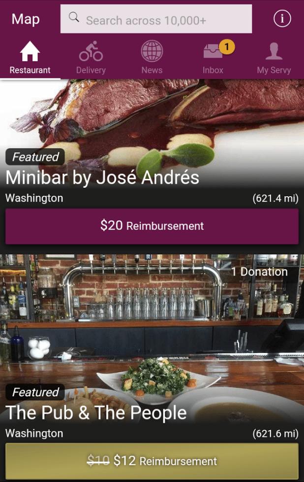 Servy Restaurant Cash Reimbursements