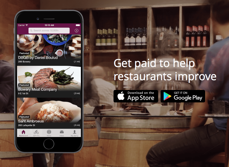 Servy Restaurant Mystery Dining App up to $25 Cash Payments and $5 Referrals