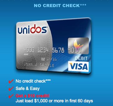 Unidos Visa Prepaid Card Bonus Credit