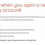 Congressional Federal Credit Union $25 Checking Account Bonus – DC and VA