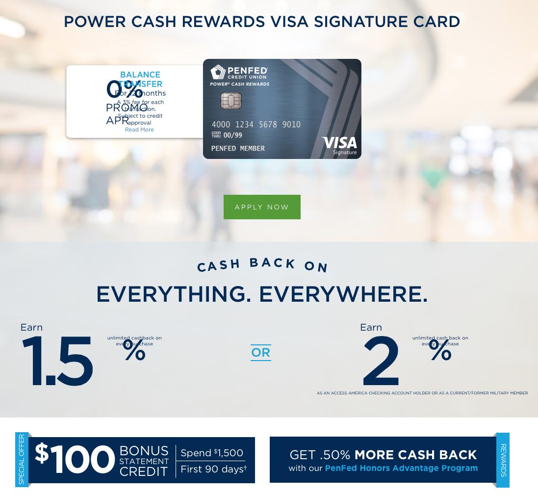 PenFed Power Cash Rewards Credit Card 2% Unlimited Cash Back