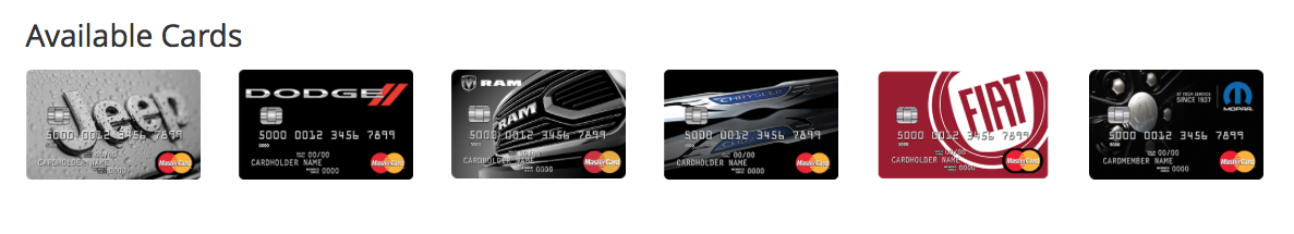 FCA MasterCard Credit Card Images