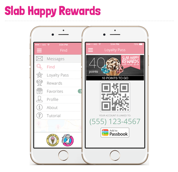 MaggieMoos and Marble Slab Creamery Slab Happy Rewards App