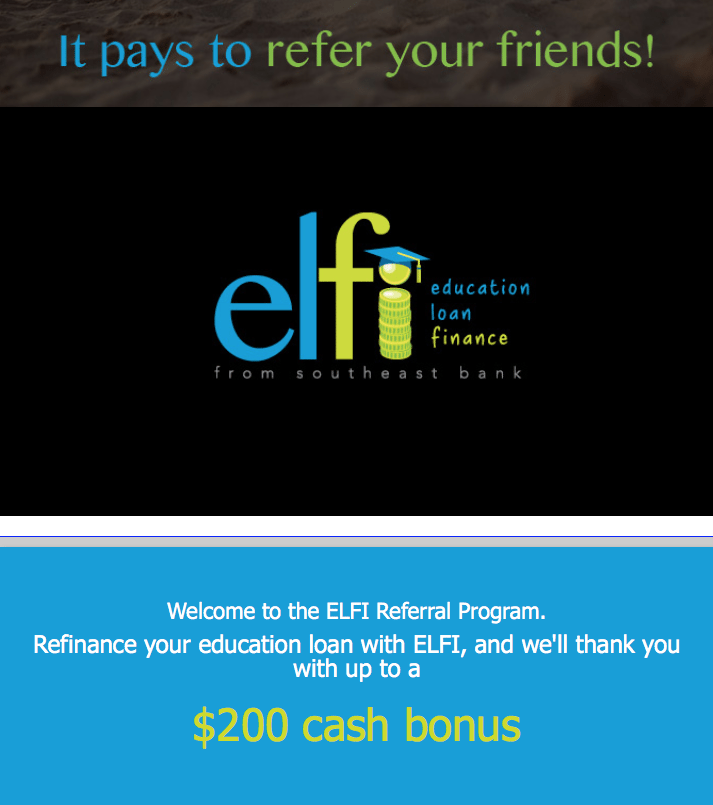 ELFI Education Loan Finance Referral Bonus Program