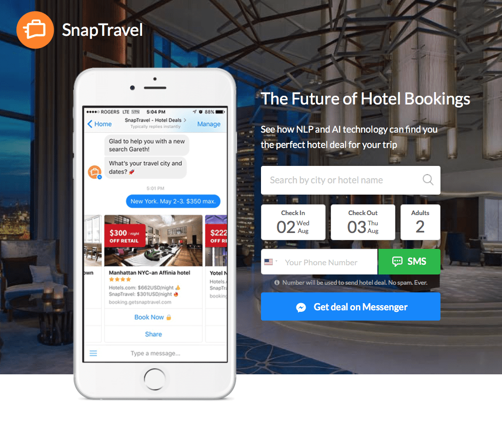 SnapTravel Hotel Booking Deals over Facebook Messenger and SMS