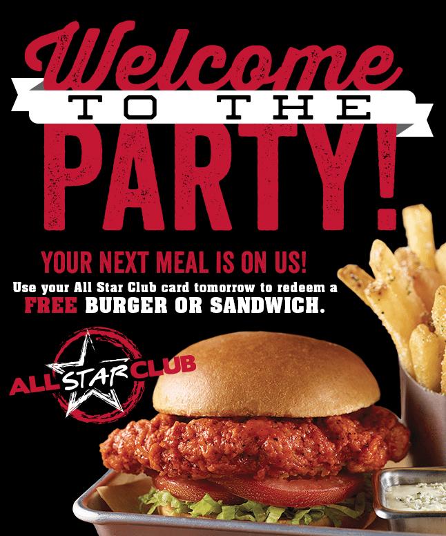 Fox and Hound Sports Tavern All Star Club Free Burger