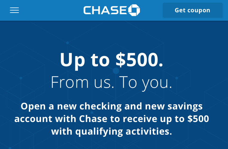 Chase savings coupon code