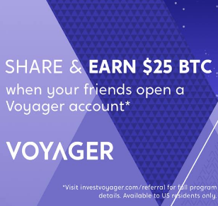 Voyager No-Fee Cryptocurrency Brokerage $25 Free Bitcoin Credit