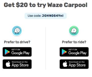 Waze Carpool $20 Referral Bonus Credit