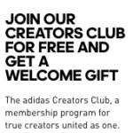 Adidas Creators Club Referral Discount Voucher